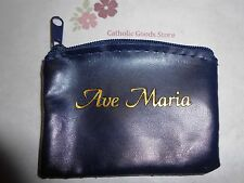 """Ave Maria"" Blue Zippered Rosary or Chaplet Case"