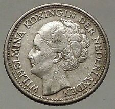 1943 Netherlands Queen WILHELMINA 25 Cents Wreath Authentic Silver Coin i57792