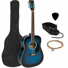 "Acoustic Guitar 41"" Full Size Adult Blue Includes Guitar Pick & Accessories"