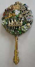 OOAK Jeweled Beaded Hand Held Dresser Vanity Mirror Cat Themed - Kitty Cat