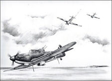 RAF Boulton Paul Defiant print signed by 4 Battle of Britain aircrew veterans