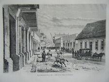 GRAVURE SUR BOIS 1883 RUE DE LA BARANQUILLA COLOMBIE