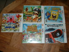 Lot 5 Nintendo 3DS Games Kirby,Spider-Man,Sponge Bob,Rabbids,Animal Crossing
