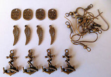 antique bronze earring making kit (6 pairs) emo goth charms