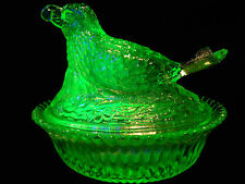 Green Vaseline glass bird hen on nest basket dish candy butter uranium songbird