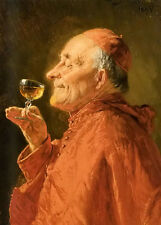 Perfect Oil painting adolf eberle - a good vintage old man drinking wine canvas