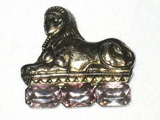Vintage Egyptian Revival Brooch ft Sphinx in Silver & Amethyst Type Stone