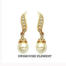 Boucles d'oreilles bouton pendants Swarovski® Elements perle plaqué or jaune