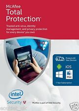 Mcafee total protection 2016 unlimited user/pc/dispositifs de sécurité internet ffp