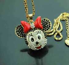 H624     Betsey Johnson crystal enamel Rat head Pendant Sweater Necklace