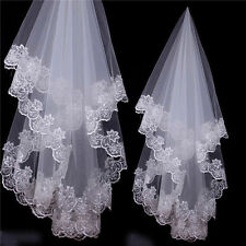 Long bridal wedding 1T Veil White Ivory 1.5m elbow Lace Edge