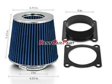 Air Intake Air Flow Sensor MAF Adapter + BLUE Filter Fit For 03-06 350Z 3.5 V6