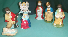 "Set Of 7 Plaster NATIVITY FIGURES FIGURINES 2.5"" Hand Painted"