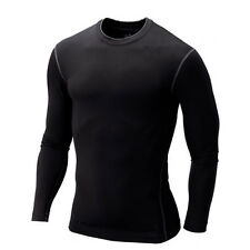 Mens Compression Thermal Under Base Layer T-shirt Long Sleeve Gym Wear Tight Top