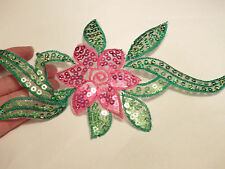 large flower patches sequin applique patch motif iron on sew on trim trimming UK