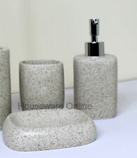 3PC BEIGE STONE BATHROOM ACCESSORY SET SOAP DISPENSER DISH TOOTHBRUSH HOLDER