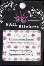 """Edel: Water Nail Tattoo Sticker  """"Love @ Marriage""""  Hochzeit, Liebe, Rosen TJ105"""