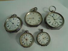 Colección de Relojes de Bolsillo De Plata Antigua Para Repuestos O Reparaciones Buen Trabajo Lote
