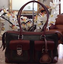 Dooney & Bourke Signature Green Canvas/Leather Double Pocket Bag Purse EUC