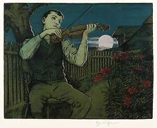 HANS THOMA - Mondscheingeiger - Farblithografie mit Silber 1897