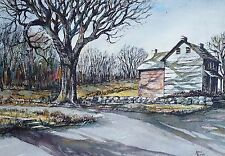 Vintage Bucks County Barn PA Watercolor Painting By Mario Lowndes Signed PA