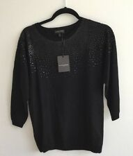 The white company femmes sequin noir laine cachemire sweater jumper sz8 nwt