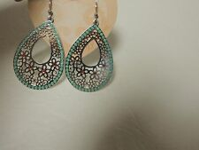 Brighton earrings DAISY LACE silver/turq/red french wire backs NWT