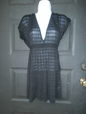 NWT NEW White House Black Market TOP MEDIUM BLACK SILVER SPARKLES