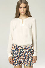 Nife Long Sleeve Blouse with key hole B38 - cream Medium Euro 38 Box1529 f