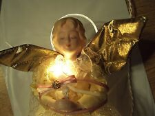 """Lighted 12"""" Tree Top Angel In  Lace Porcelain head 10 light  with halo"""