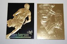 Set of 2 ALLEN IVERSON Rookie Gold Cards 1996-97 Fleer FLAIR SHOWCASE & EX-2000