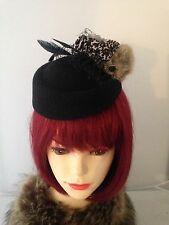 Vintage Style  40s / 50s  BLACK  Hat  ANIMAL PRINT Headpiece + Races + Weddings