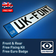 UK Font PRESSED Number Licence Reg Aluminium Plates MOT with BSAU Markings 32L