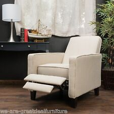 Living Room Furniture Beige Fabric Club Chair Recliner
