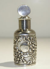 Chinese Sterling Silver Rare Snuff Bottle High Relief Chrysanthemums Motif 1890
