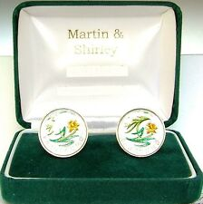 £1 Wales coin cufflinks in Gold and Satin Silver and colours