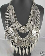 Newest Design huge Lady Statement Clear crystal chunky chain charm necklace q999