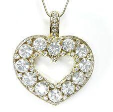 NEU 45cm+6,5cm HALSKETTE Herz SWAROVSKI STEINE kristallklar COLLIER goldfarben