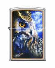 "Zippo ""Mazzi-Owl & Moon"" Lighter, Satin Chrome Finish, 1466"