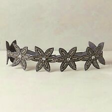 Anthropologie Grey Jeweled Star Flower Floral Elastic Belt Womens Small *NEW*