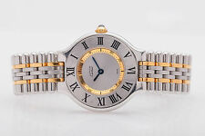$3000 18k Solid Gold SS Cartier Ladies Dress Designer Watch NICE & ORIGINAL BOX
