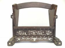 Antique Old Used Wood Wooden Chinese Mother of Pearl Inlay Magazine Rack Stand