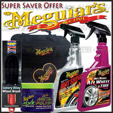 Meguiars Gift Pack Wheel & Tyre Cleaner,Hot Shine, NXT Metal Polish,Brush & Bag