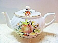 Porcelain Teapot Albert Wood & Son Staffordshire England White with Peaches 6361