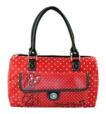 DISNEY NWT MINNIE Mouse Red and Black Dots Barrel Bag