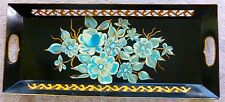 ANTIQUE Coffin Tole Tray HAND PAINTED SIGNED Fret and Handle Cut out Blue Gold