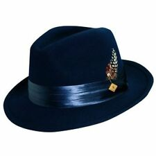 STACY ADAMS * BLUE CRUSHABLE WOOL FEDORA HAT * M L XL * MENS TOP LINED Godfather