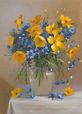 "20""x28"" Daisy Flower Blue Yellow Vase Oil Painting Floral Art Picture Home Decor"