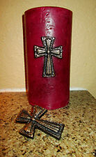 SET of 2 Iron Cross Candle Pin Crosses for candles Old World Fleur de Lis Crown