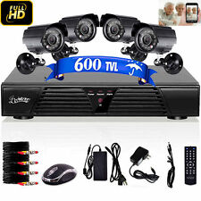 4CH D1 HDMI DVR 600TVL Outdoor/Indoor Home CCTV Camera Security Kit+500G HDD